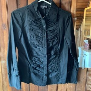 Long sleeve black button down blouse